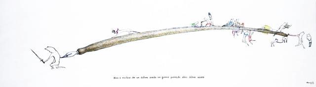 Ayumi Kudo, Non è escluso che un dolore sordo un giorno provochi altro dolore acuto, 2015, inchiostro, matita colorata, tavola di legno