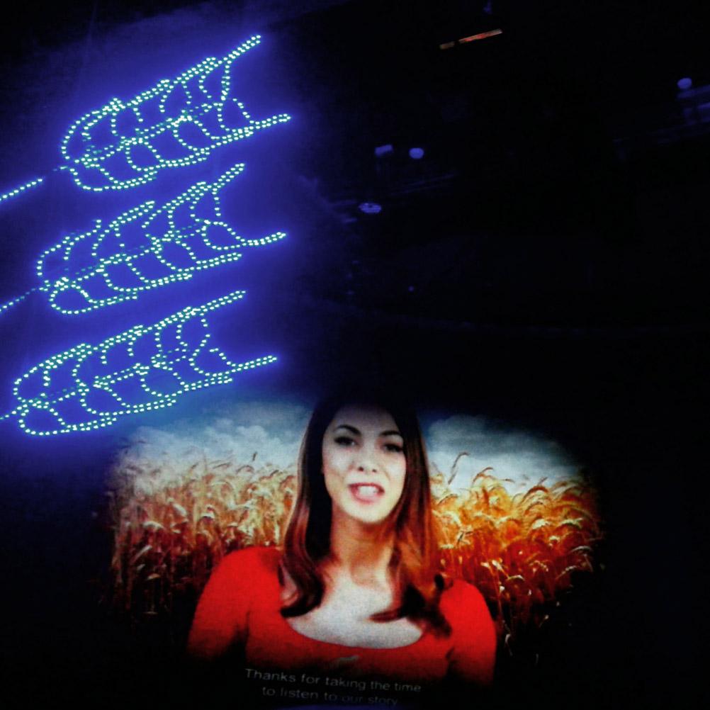 Un'installazione video nel Padiglione di Israele