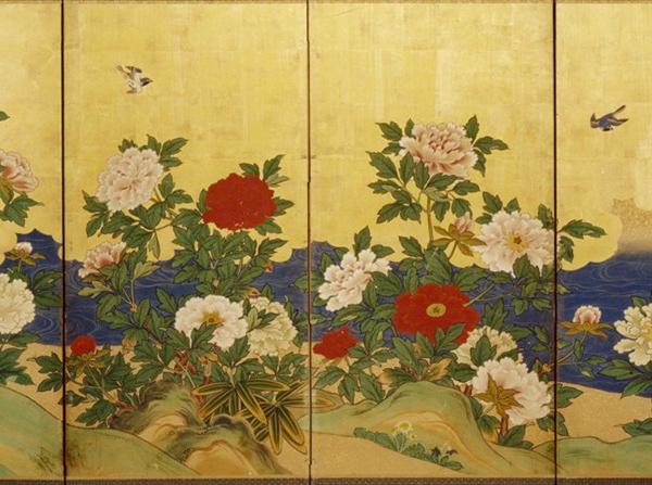 paraventi-giapponesi-paravento-con-peonie-e-uccellini-della-collezione-nobili-periodo-edo-inizio-xix-secolo-particolare