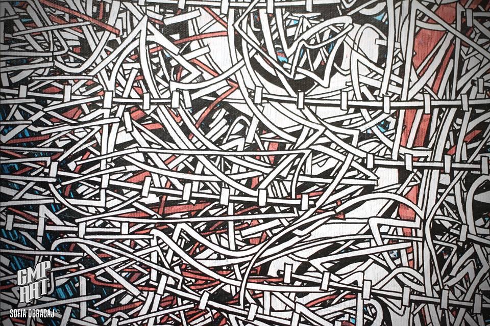 Particolare di una tela di Gabriele Memola
