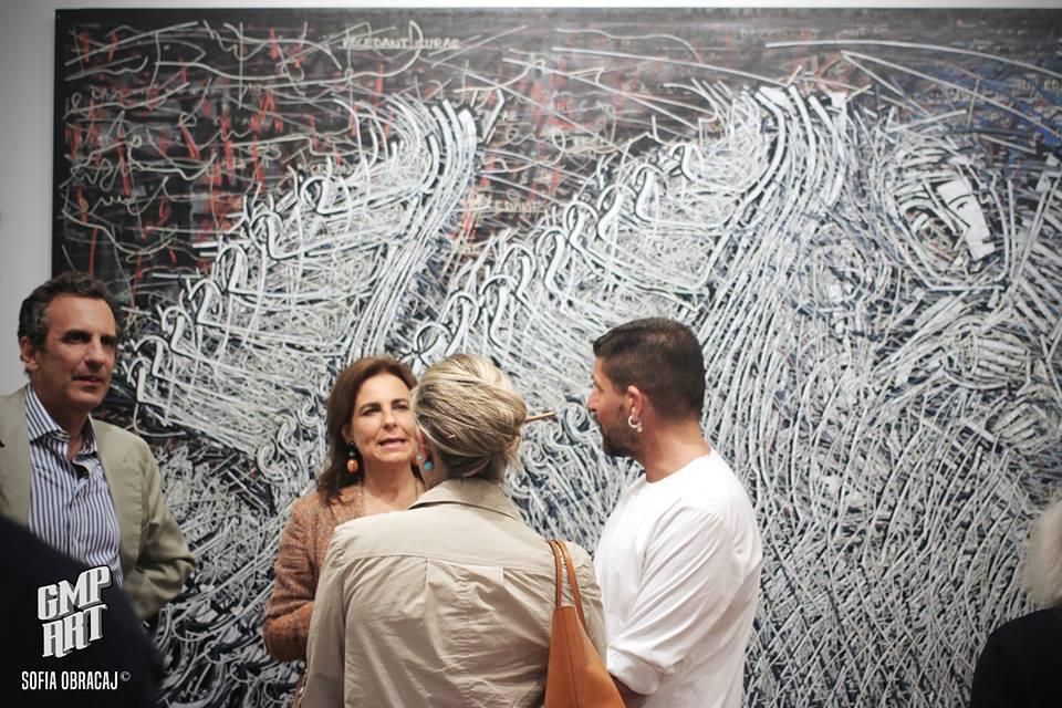 Un momento del vernissage di Gabriele Memola presso la galleria Rubin