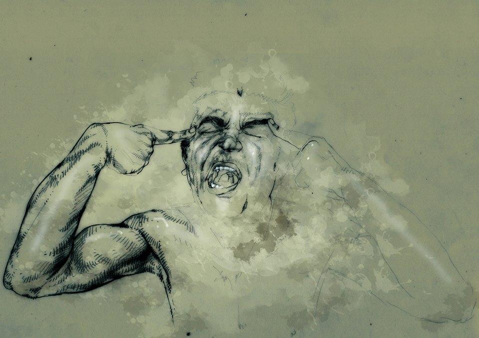 Un ritratto di Gian Paolo Serino disegnato da Giovanni Manzoni