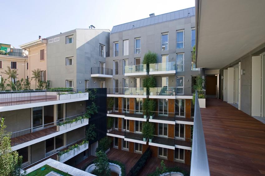 Westway Architects - Edificio Viale Montegrappa , vista della corte con i diversi corpi di fabbrica