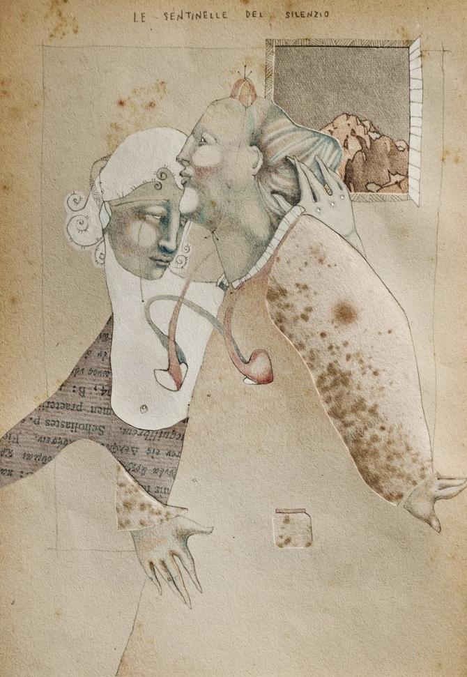 Sofia Rondelli, Le sentinelle del silenzio, tecnica-mista-su-carta 2014