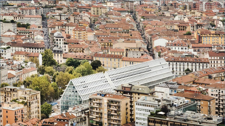 Vista dall'alto della Fondazione feltrinelli di viale Pasubio, ph. Filippo Romano
