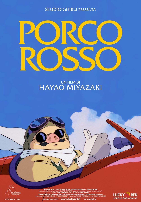 La locandina del film d'animazione Porco Rosso, Studio Ghibli 1992