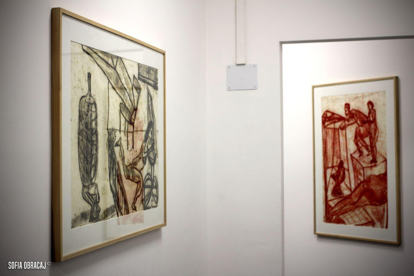 Disegni di martin Disler in mostra presso lo Studio d'Arte Cannaviello, ph. Sofia Obracaj