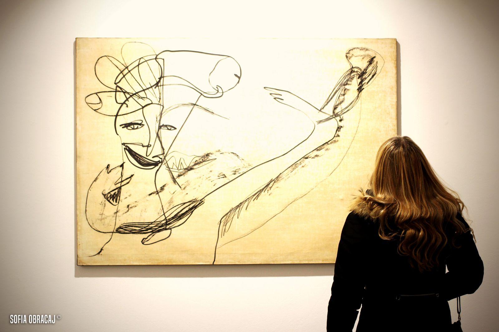 Visita alla mostra di Martin Disler, opera realizzata a grafite e pennarello su carta intelaiata, 1981. Ph. Sofia Obracaj