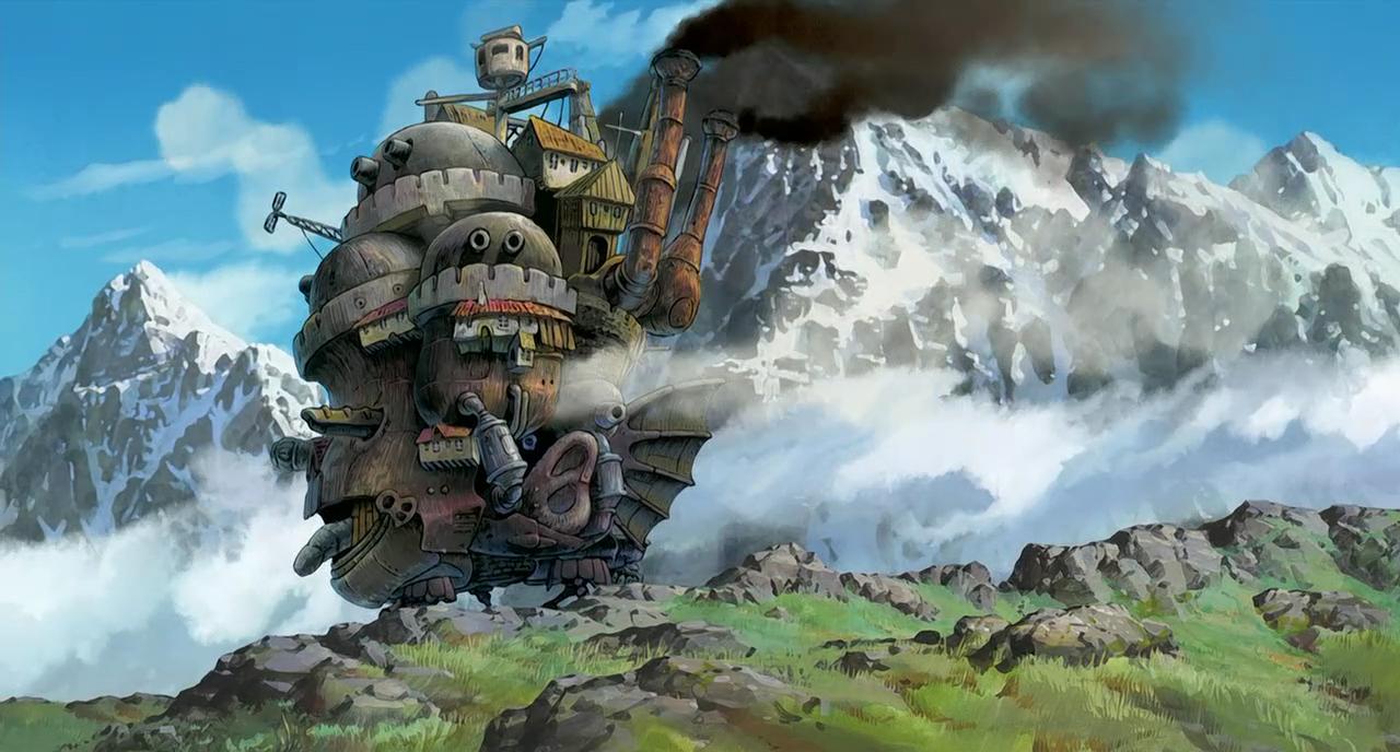 Il Castello Errante di Howl si muove sulle montagne, frame del film scritto e diretto da Miyazaki nel 2004.