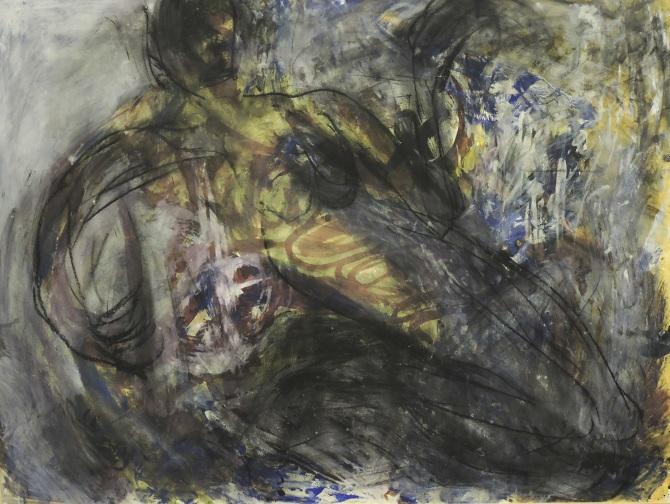 Martin Disler, acrilico e carboncino su carta, 1989