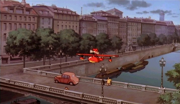 Porco Rosso e il suo idrovolante sui navigli di Milano