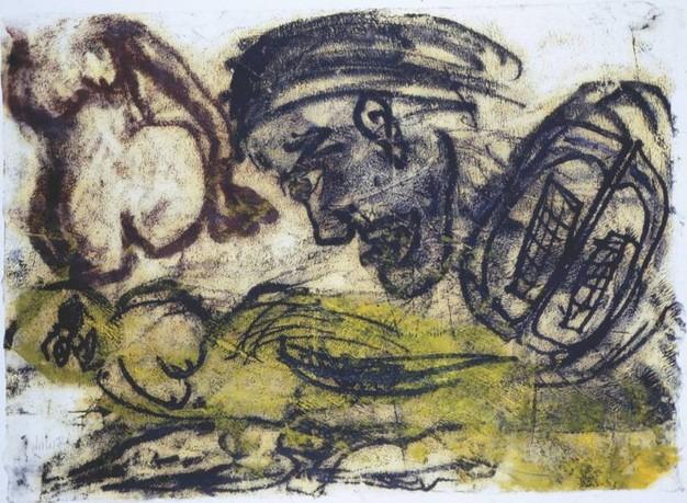 Acrilico e carboncino in un lavoro di Martin Disler, in mostra fino al 18 febbraio presso lo Studio d'Arte Cannaviello