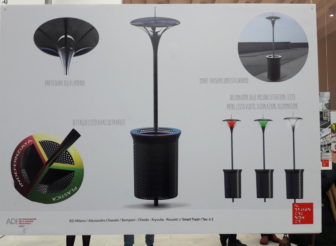 Progetto degli studenti IED per i cestini della spazzatura a Milano. In mostra in Triennale