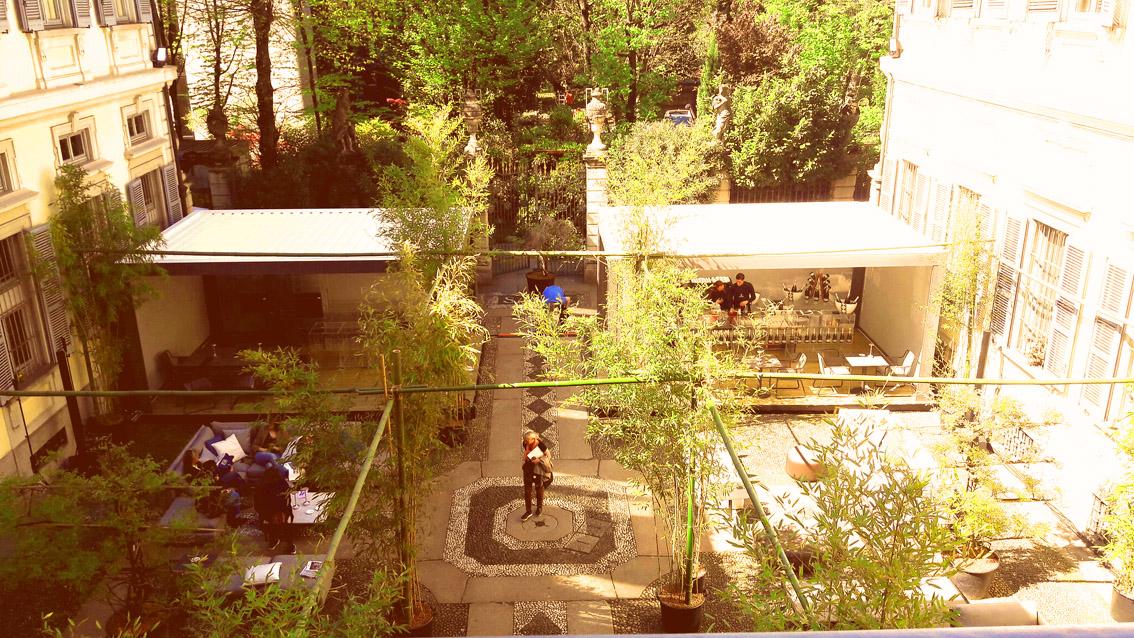 Il giardino di Palazzo Bovara con Concept Store. Elle Decor alla MDW 2017