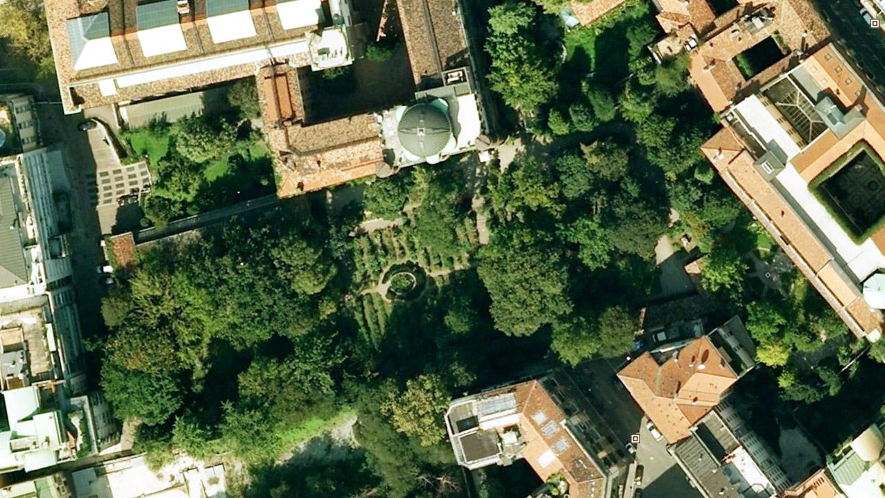 Orto Botanico di Brera, vista aerea