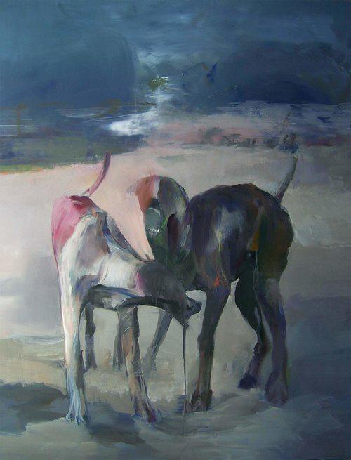 Materia e spirito in un dipinto di maurizio L'altrella in mostra presso la galleria Rubin