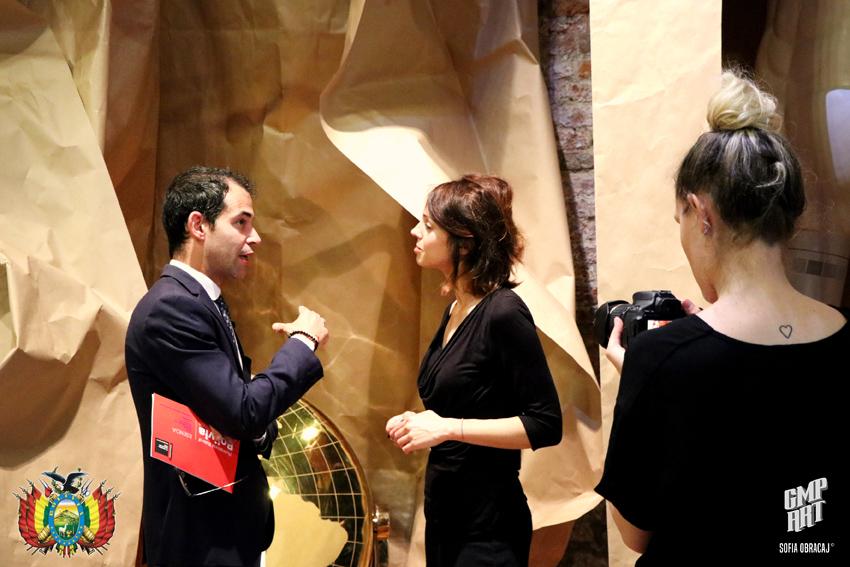 Gabriele Romeo , uno dei curatori del padiglione di Bolivia con Juan Fabbri e José Bedoya