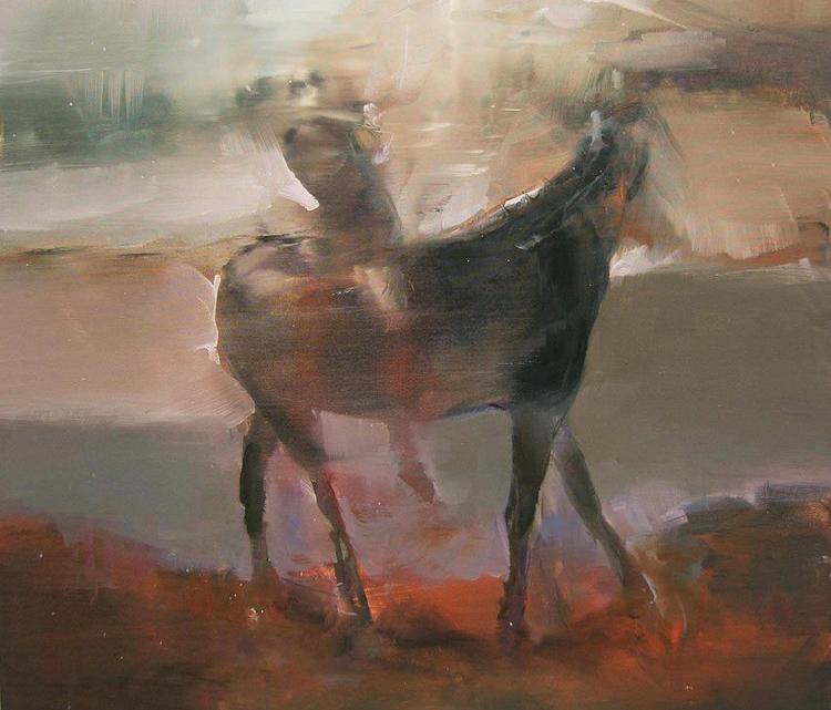 Particolare di un dipinto in mostra alla galleria Rubin