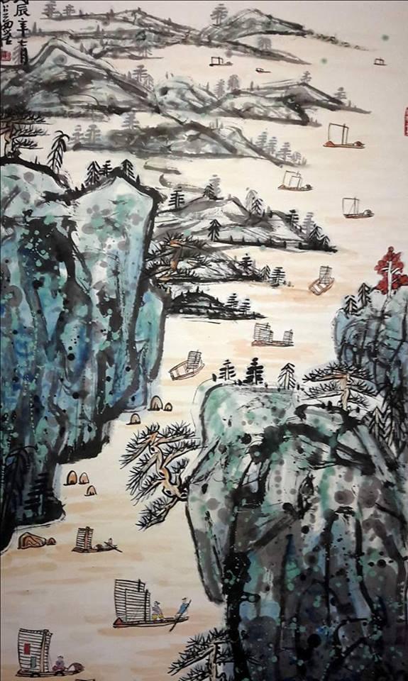 Particolare di un dipinto della prima grande retrospettiva di Fang Zhaolin