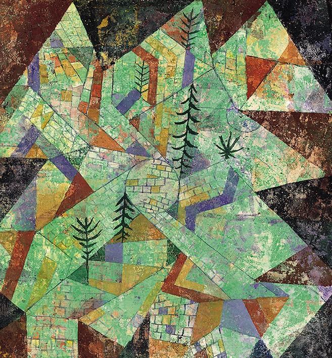 Paul Klee.Paesaggio in verde con mura detto Costruzione Boschiva, 1919