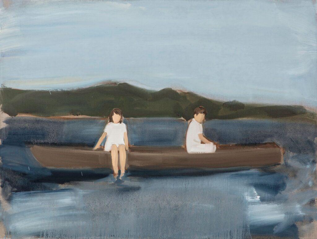 Volti senza identità. Gideon Rubin, Two on a boat, 2019.