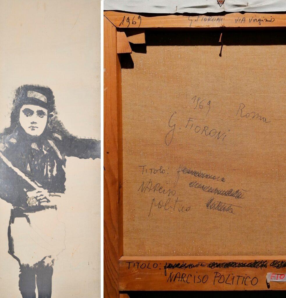 Giosetta Fioroni, fronte e retro del dipintoNarciso politico,1968. artscore.it