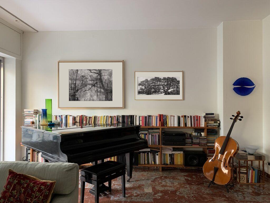 L'incisione di Federica Galli tra i libri e la musica in una collezione milanese
